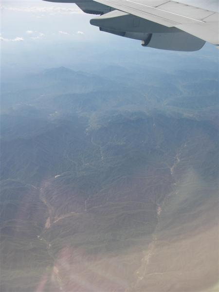 View of China from a plane